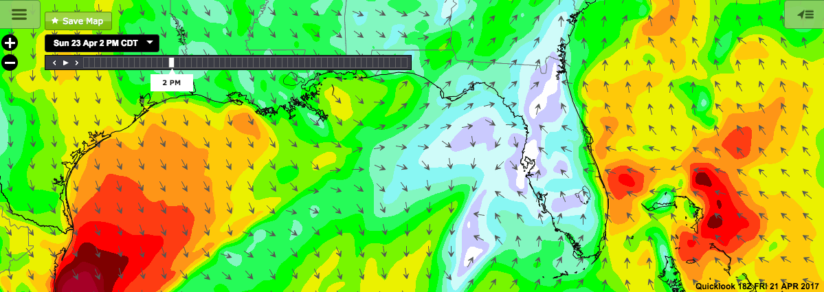 Wind Forecast: April 22nd – 23rd